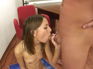 Russian Teen punished with constant deep throat and sucking and anal