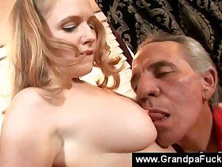 Teen gives senior the last blowjob